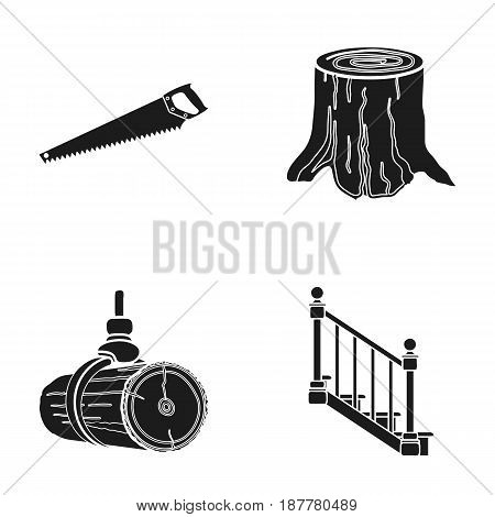 A hacksaw, a stump, a staircase with handrails, a beam. A sawmill and timber set collection icons in black style vector symbol stock illustration .
