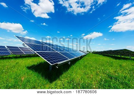 Solar power station against the blue sky. Alternative energy concept