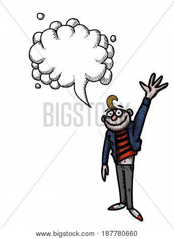 Cartoon image of waving man. An artistic freehand picture. With speech bubble.