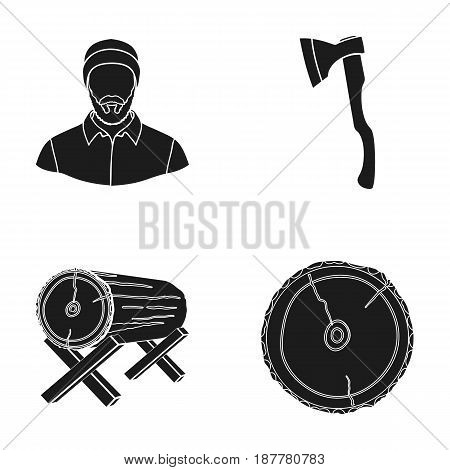 Carpenter, log on supports, ax, cut logs. Sawmill and timber set collection icons in black style vector symbol stock illustration .