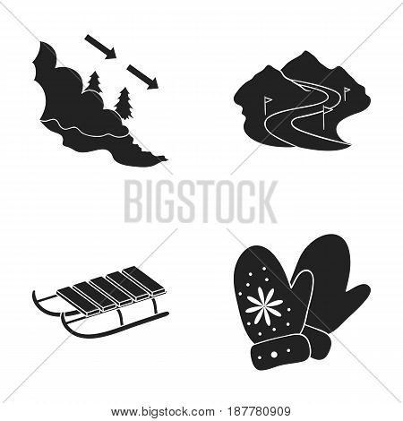 Avalanche sign, ski slope, sled, mittens. Ski resort set collection icons in black style vector symbol stock illustration .