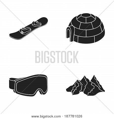 Mountains, goggles, an igloo, a snowboard. Ski resort set collection icons in black style vector symbol stock illustration .