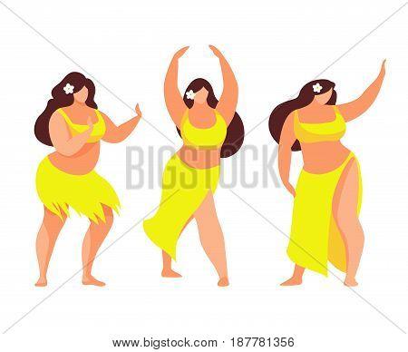 Set of Hawaiian hula dancer. Hawaiian plus size women. Vector illustration.