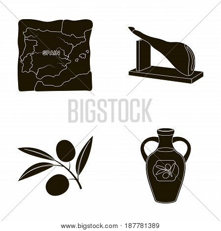 Map of Spain, jamon national dish, olives on a branch, olive oil in a bottle. Spain country set collection icons in black style vector symbol stock illustration .