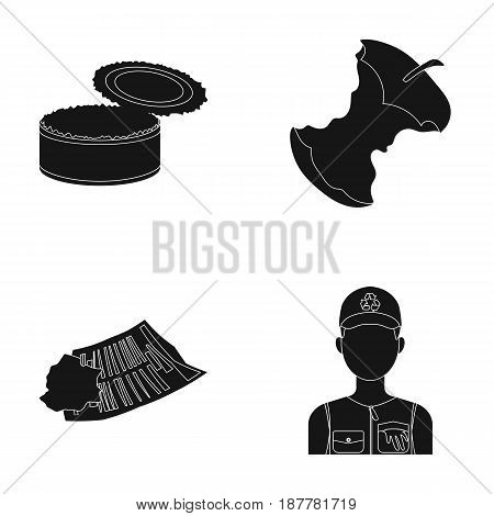 Can used used pot, apple stub, old dirty and wrinkled newspaper, the man who takes out the garbage.Garbage and trash set collection icons in black style vector symbol stock illustration .