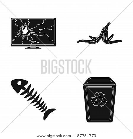 Broken TV monitor, banana peel, fish skeleton, garbage bin. Garbage and trash set collection icons in black style vector symbol stock illustration .