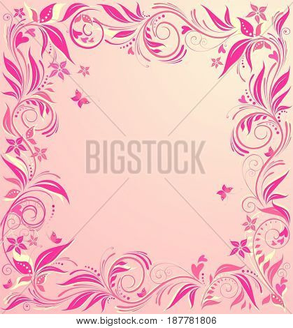 Beautiful floral pink card for wedding invitations