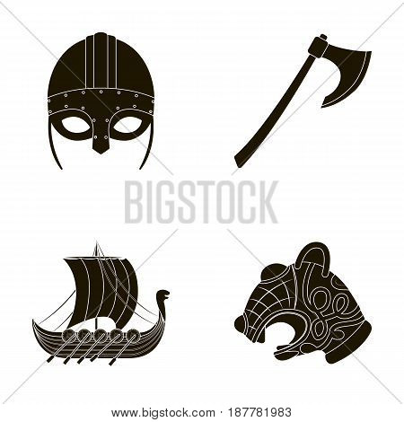 Viking helmet, battle ax, rook on oars with shields, dragon, treasure. Vikings set collection icons in black style vector symbol stock illustration .