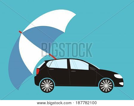 Blue umbrella protecting car flat style. Safety insurance risk concept. Vector illustration