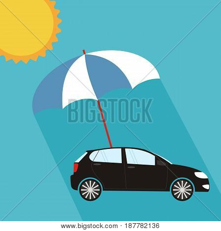 Blue umbrella protecting car against sun flat style. Safety insurance risk concept. Vector illustration