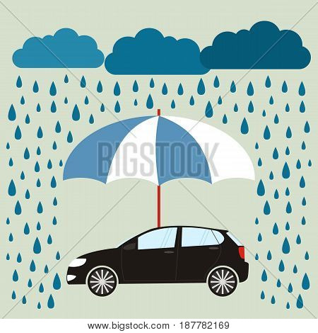 Blue umbrella protecting car against rain flat style. Safety insurance risk concept. Vector illustration