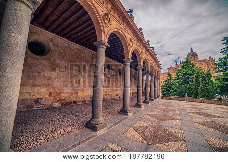 Salamanca Spain: Convento de San Esbetan a Dominican monastery in the Plaza del Concilio de Trento Council of Trent at sunset
