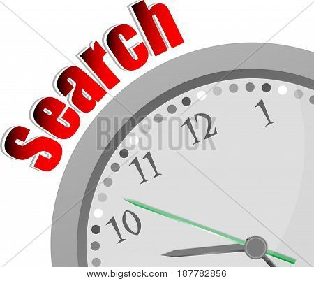 Text Search. Business Concept . Color Word And Modern Clock On White