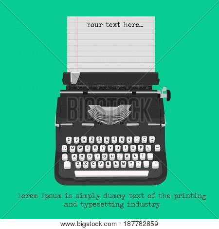 Retro typewriter with blank paper with copyspace for text isolated