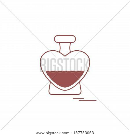 Cute Vector Illustration Of Perfume Bottle In The Shape Of Heart.