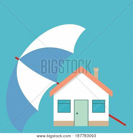House under the umbrella. Concept of security of property. vector