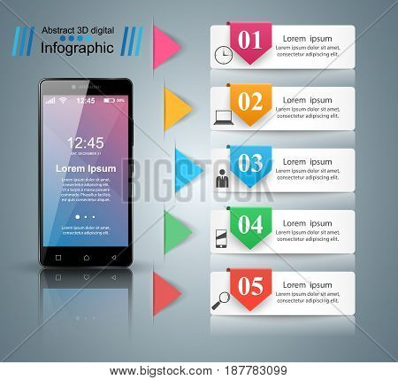 3D infographic design template and marketing icons. Business Infographics origami style Vector illustration. Smartphone icon.