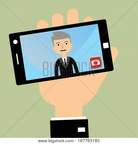 Man's hand holding smartphone with self portrait. Businessman taking selfie. vector