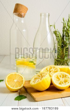 Squeezed Lemons, Water, Mint And Ready Lemonade