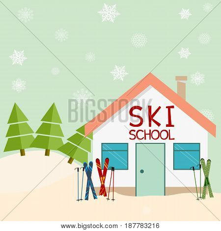 Skiing winter season ski school mountains and ski equipments. ski resort. vector