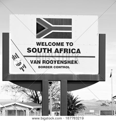 In South Africa Control Border Signal Welcome Concept