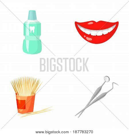 Dental sterile liquid in the jar, lips, teeth, toothpicks in the jar, medical instruments for the dentist. Dental care set collection icons in cartoon style vector symbol stock illustration .