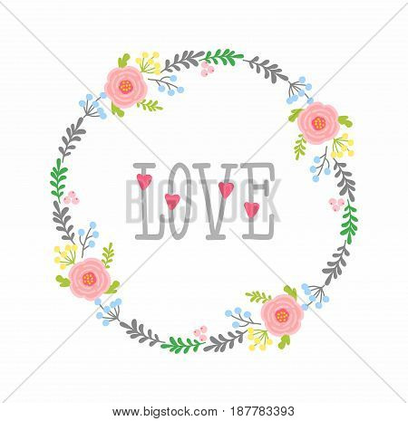 elements for design - arrows, hearts, love, circlet of flowers