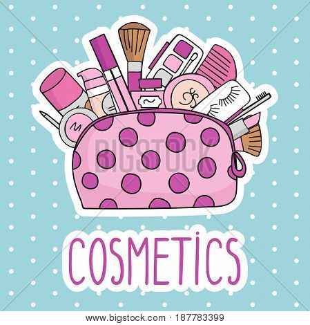 Vector illustration cosmetic bag with cosmetics. on a white background. A set of cosmetics - lipstick, mascara, comb, shadows, a brush, a hairspray, a lip gloss