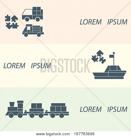 Vector Illustration Kids Toys Objects: Train, Puzzle, Designer, Boat, Cars.