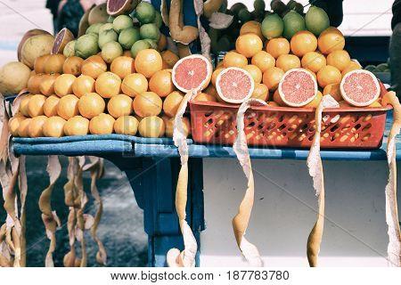 In A Open Market Fresh Fruit Like Orange And Lemon