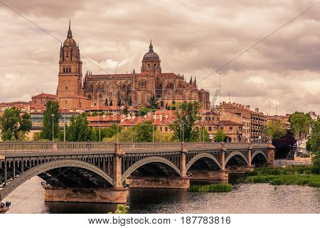 Salamanca, Spain: The old town, The New Cathedral, Catedral Nueva and Tormes river at sunset