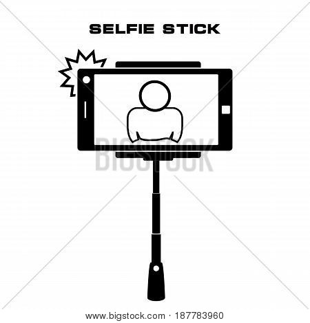 Selfie monopod stick symbol with smartphone with flash and man silhouette. Simple black style. vector