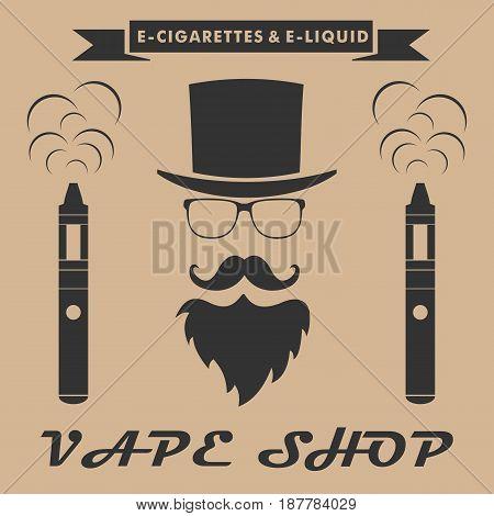 Vape shop logo. hipster with electronic cigarette. Vape shop banner concept. Vector illustration