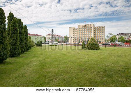 SLUTSK BELARUS - May 20 2017: The building is an executive committee in the very center of Slutsk