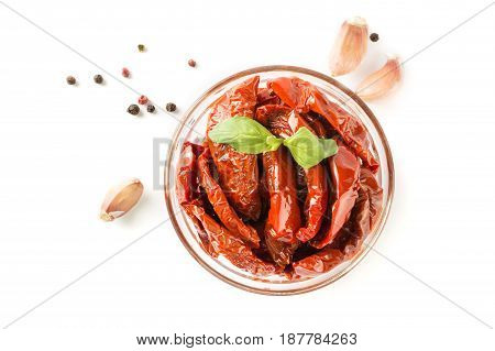 Italian Dish - Sundried Tomato With Oil And Spice. Top View