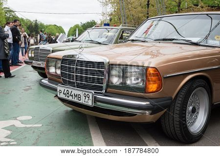 MOSCOW, RUSSIA - May 21, 2017. Retro car show exhibion in Sokolniki park. Mercedes Benz W123 old classic cars
