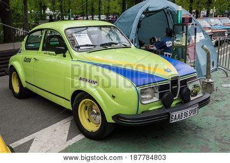 MOSCOW, RUSSIA - May 21, 2017. Retro car show exhibion in Sokolniki park. Saab 96 Sport modification