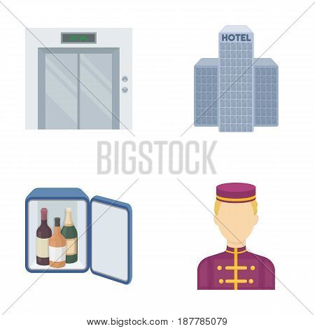 Elevator car, mini bar, staff, building.Hotel set collection icons in cartoon style vector symbol stock illustration .