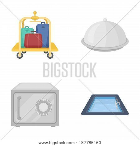 Trolley with luggage, safe, swimming pool, clutch.Hotel set collection icons in cartoon style vector symbol stock illustration .