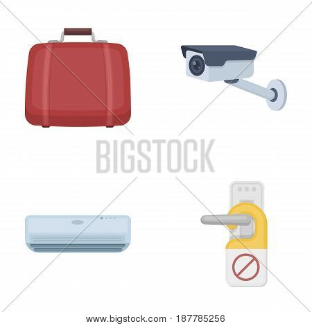 Luggage, surveillance camera, air conditioning, do not disturb the sign.Hotel set collection icons in cartoon style vector symbol stock illustration .