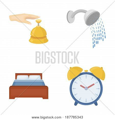 Call at the reception, alarm clock, bed, shower.Hotel set collection icons in cartoon style vector symbol stock illustration .