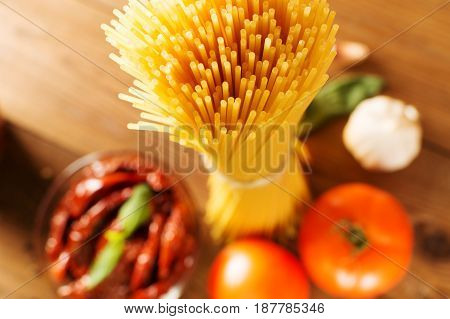Italian Spaghetti With Ingredients For Cooking Pasta. Top View