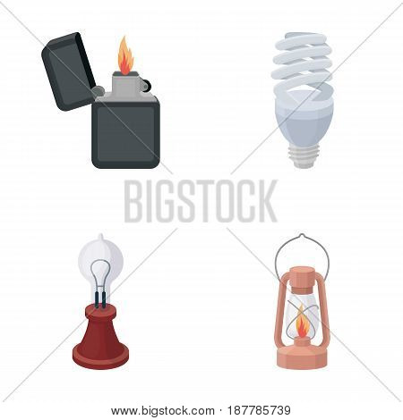 Lighter, economical light bulb, edison lamp, kerosene lamp.Light source set collection icons in cartoon style vector symbol stock illustration .