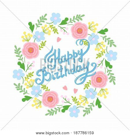 Beautiful save the date card with floral wreath. Vector cute template of wreath. floral greeting frame, card, happy birthday.