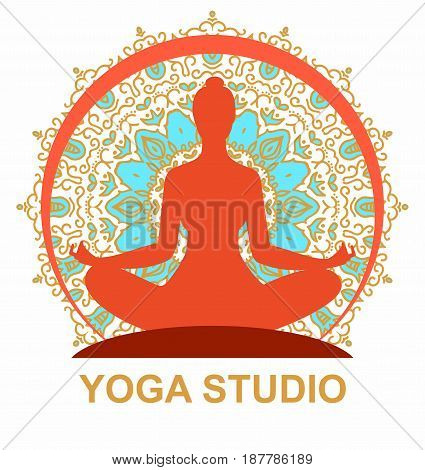 silhouette of woman in a yoga pose on the background circular ornament