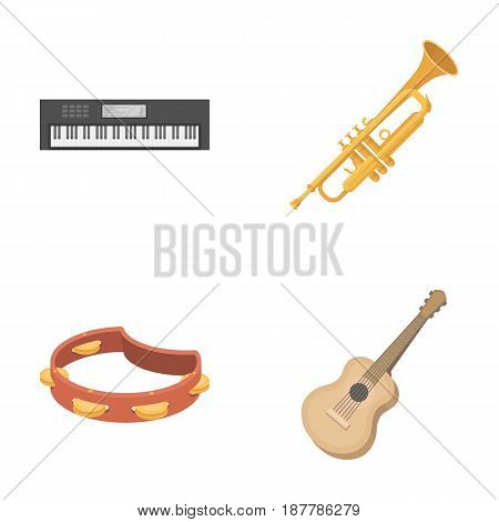 Electro organ, trumpet, tambourine, string guitar. Musical instruments set collection icons in cartoon style vector symbol stock illustration .