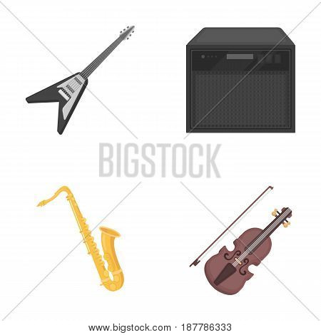 Electric guitar, loudspeaker, saxophone, violin.Music instruments set collection icons in cartoon style vector symbol stock illustration .