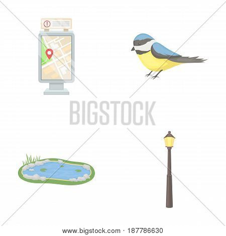 Territory plan, bird, lake, lighting pole. Park set collection icons in cartoon style vector symbol stock illustration .