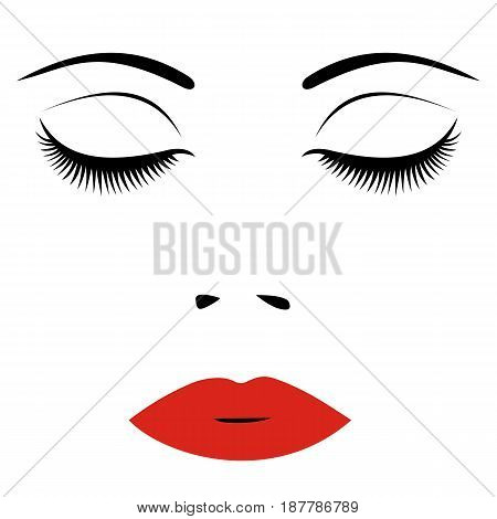Woman face with red lips and closed eyes. For Beauty Logo sign symbol icon for salon spa salon hairdressing firm company or center. Vector illustration