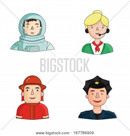 An astronaut in a spacesuit, a co-worker with a microphone, a fireman in a helmet, a policeman with a badge on his cap. People of different professions set collection icons in cartoon style vector symbol stock illustration .